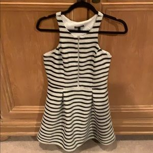 Express Black and white racer back striped dress